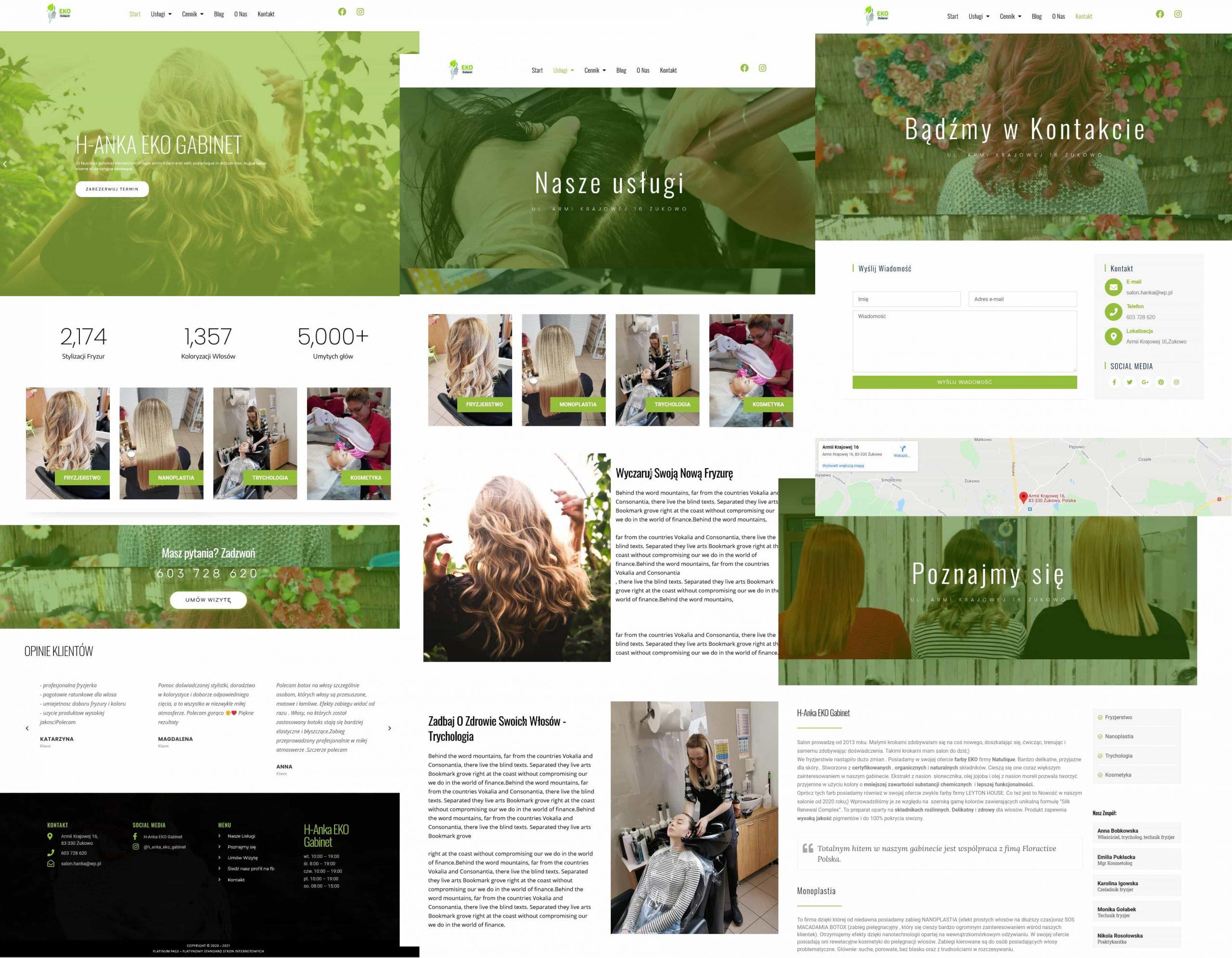 strona internetowa dla salonu fryzjerskiego