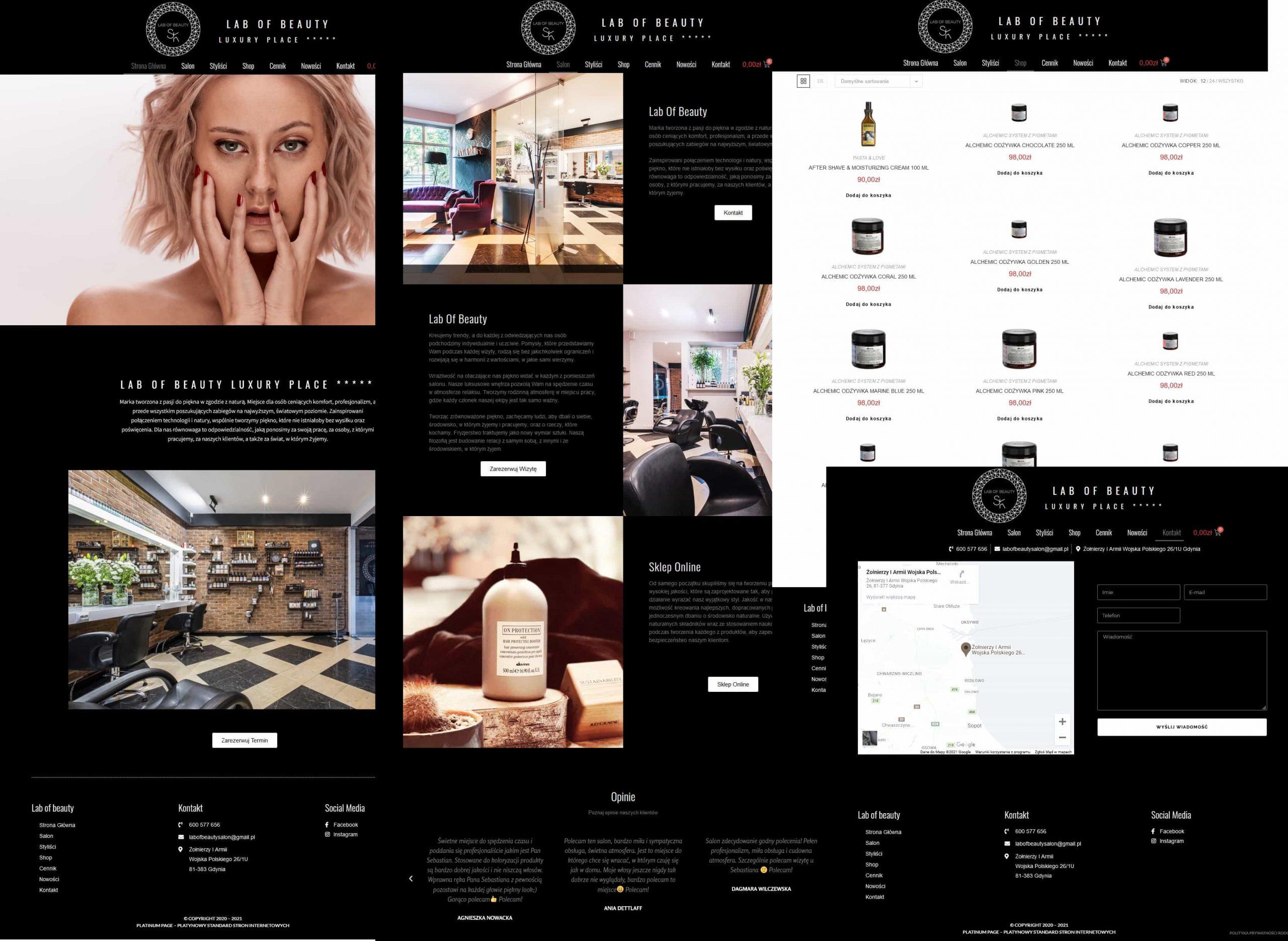 strona salonu fryzjerskiego ze sklepem internetowym